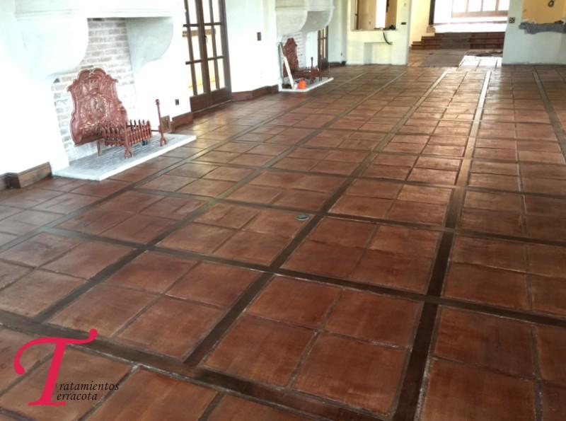 tratamiento suelo barro interior acabado efecto cuero 04